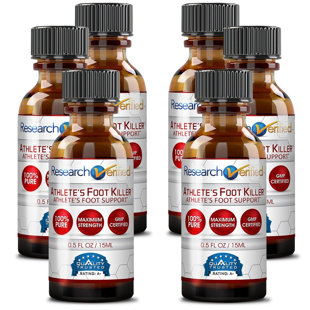 Research Verified Athlete's Foot Killer - 6 Bottles - Top Athlete's Foot Relief - 25% Undecylenic Acid and Tea Tree Oil. Reduce infection duration, frequency and severity. 100% money back guarantee! by Research Verified