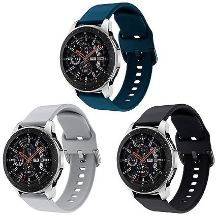 YaYuu Compatible para 22mm Correa de Reloj Galaxy Watch 46mm/Gear S3 Frontier/Classic Banda de Reemplazo de Silicona Deportiva Pulsera para Moto 360 ...