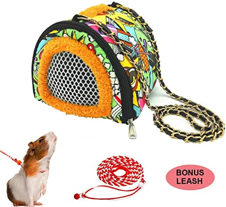 Portable Warm Plush Bag with Shoulder Strap for Carrying Hamster Hedgehog Squirrel Pets Small Animals Carriers