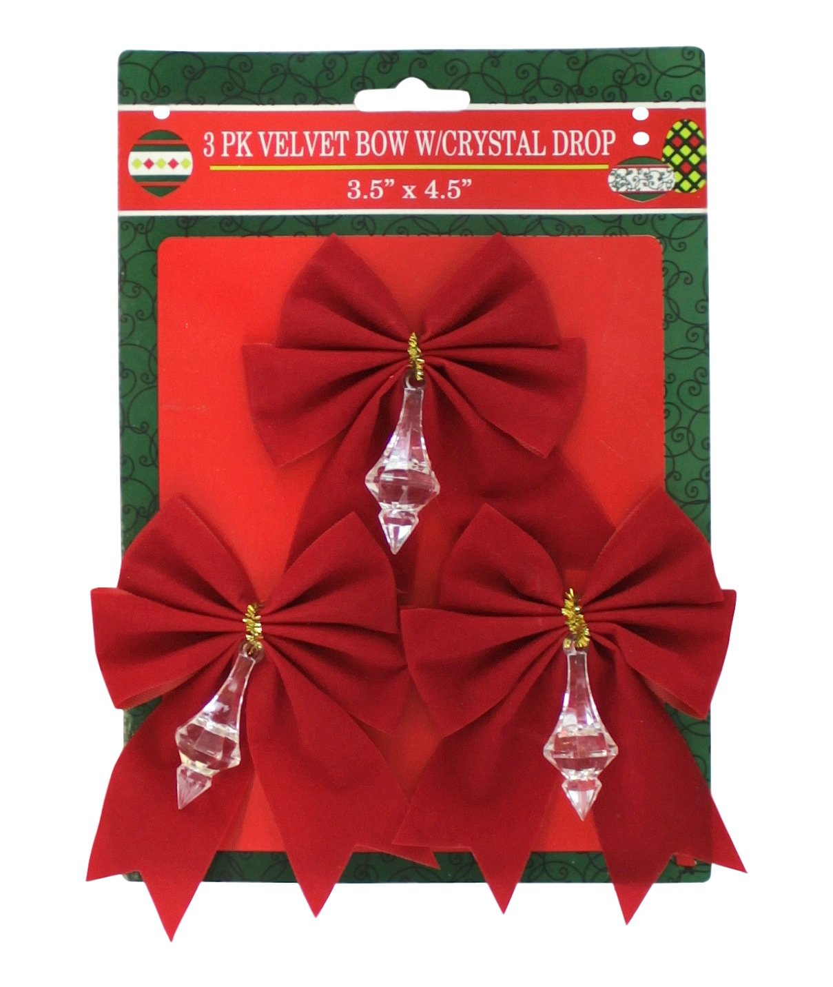 G91529N6PK Red Velvet Bow With Crystal Drop 6-Pack Pennsylvania Christmas Co