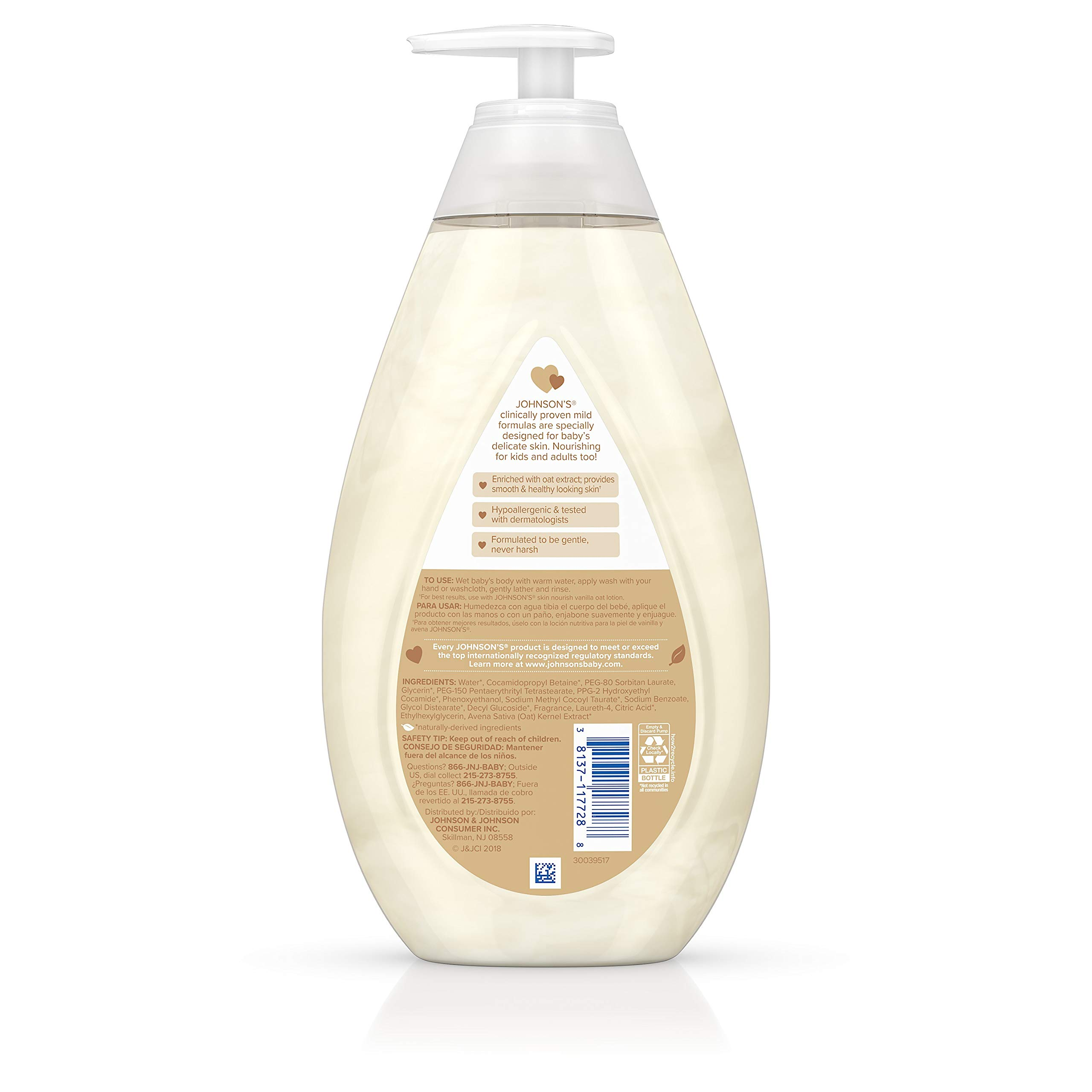 Johnson's Baby Skin Nourishing Baby Wash with Vanilla & Oat Extract, Hypoallergenic & Tear Free Baby Wash, 27.1 fl. oz