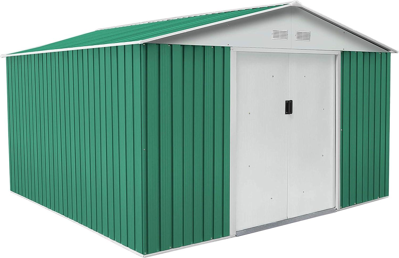 Gardiun KIS12130 - Caseta Metálica Bedford 11, 59 m² Exterior 361x321x205 cm Acero Galvanizado Verde: Amazon.es: Jardín