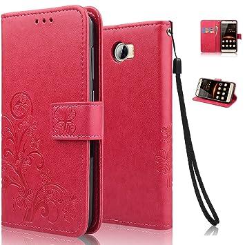echoTREE Huawei Y6 II Compact Funda, Afortunado Flor Funda para Huawei Y6 II Compact, PU&TPU Cuero Carcasa Cierre Magnético Billetera con Tapa para ...