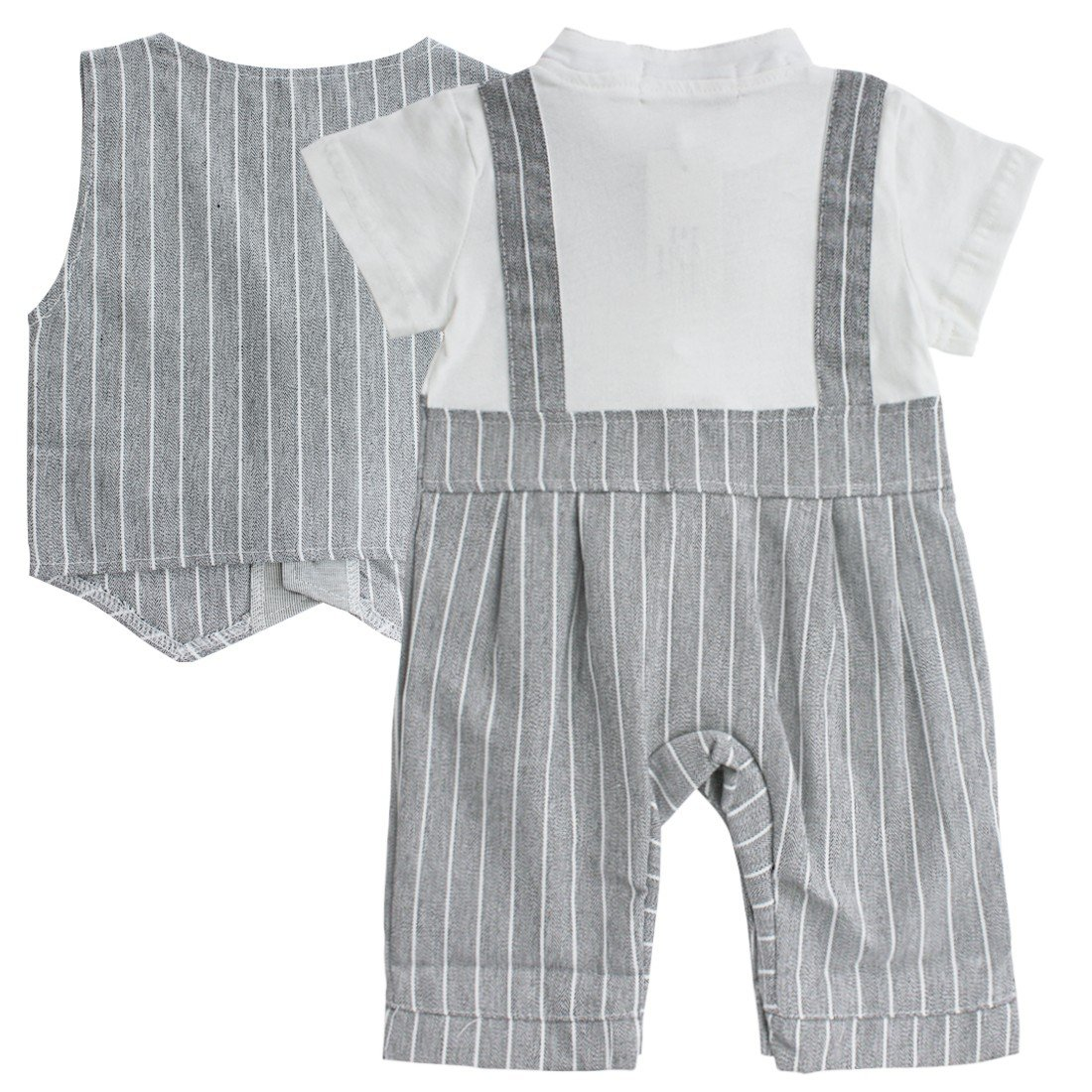 Iffee Baby Boy Formal Wedding Gentleman Tuxedo Romper+Vest Outfit Toddler Clothes Set