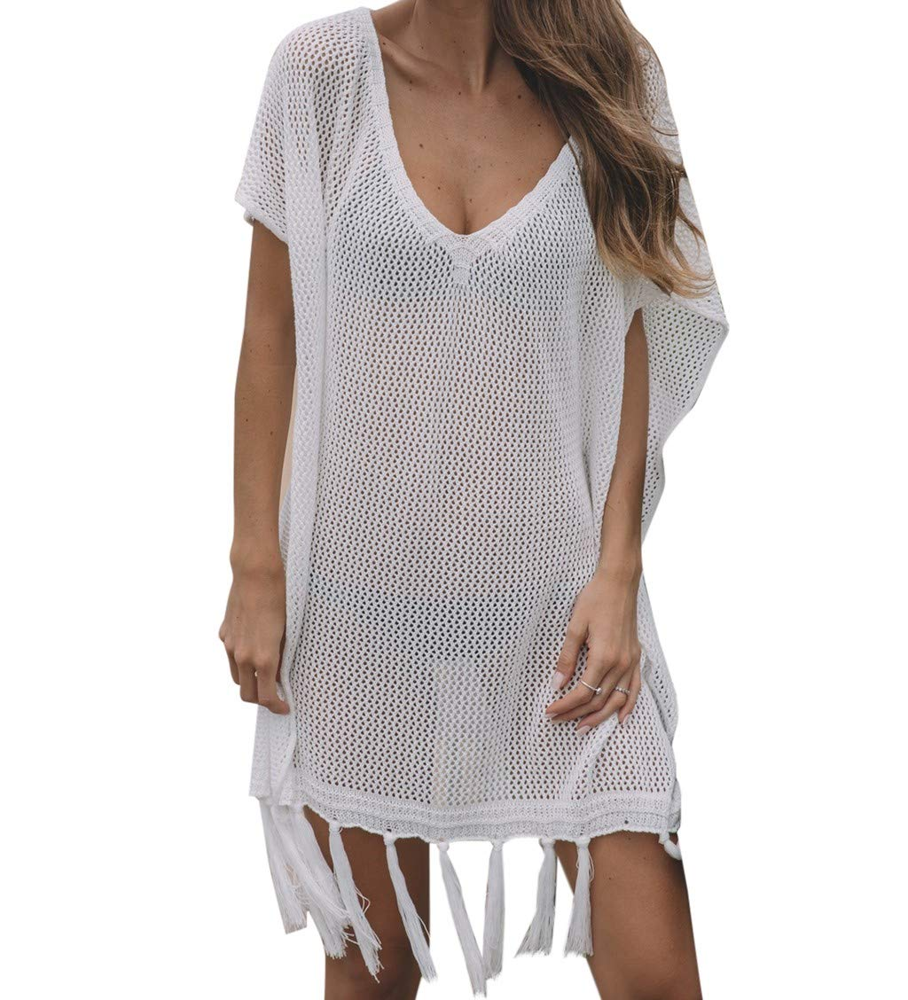 Women Knitwear Vest V-Neck Sweater Camisole Beach Smock Tassel Top Camis Tunics Blouse White