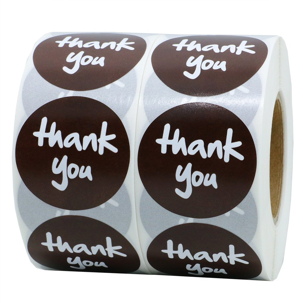 Hybsk(TM) 1.5 Round Brown Paper Thank You Stickers Adhesive Label 800 Per Roll (3 rolls)