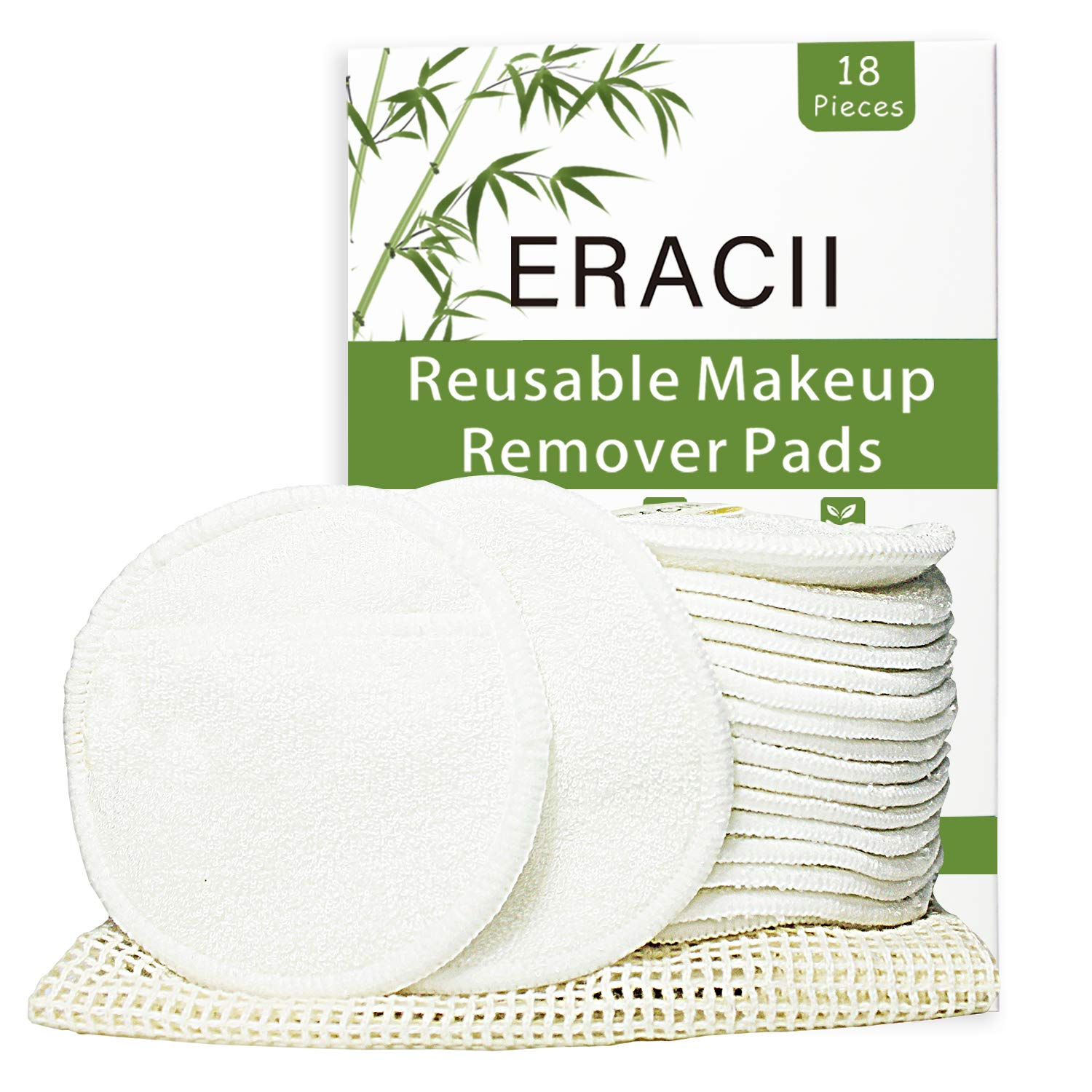 Reusable Cotton Pads - ERACII 18 Packs Reusable Makeup Remover Pads, Organic Bamboo Cotton Face Pads, Zero Waste Face Pads for All Skin Types, Skin-Friendly - Washable, with Laundry Bag