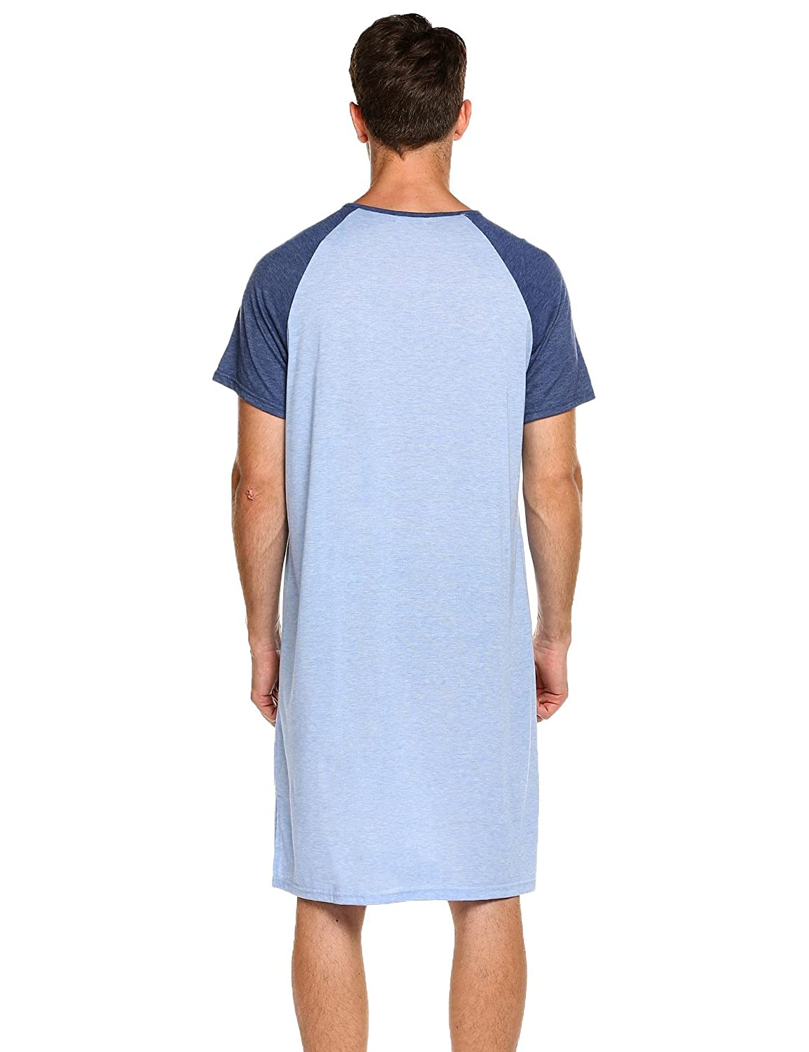 Langle Men s Nightgown Big   Tall Sleep Shirt Short Sleeve Pajama Henly  Plus Size Nightshirt M-XXXL at Amazon Men s Clothing store  e7997cf3d