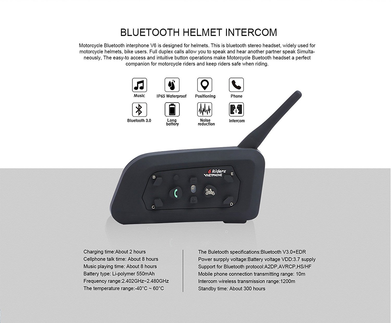 Dual Vnetphone V6 Bluetooth Motorcycle Helmet Intercom Headset 1200M Motorbike Interphone Headphone 6 Riders for Riding
