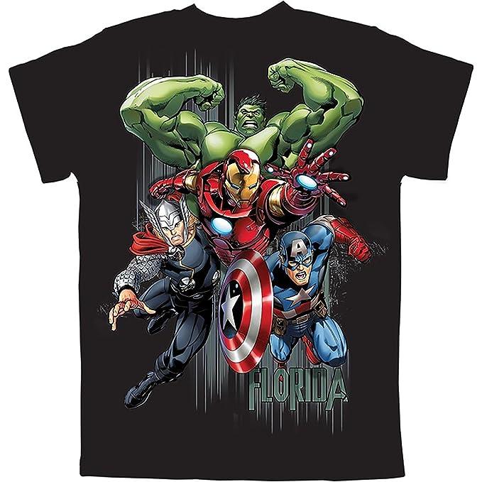 c1f13f195aa Marvel Avengers Hulk Thor Iron Man   Captain America Boys T Shirt - Fl  Black (