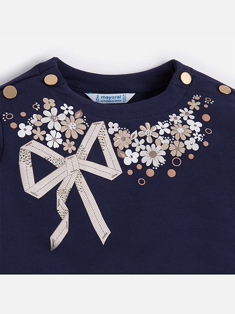 3400 Navy Mayoral Flower Bow t-Shirt for Girls
