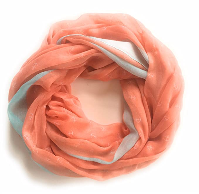 475be5aaf7a6a MELLON TWO TONE ANCHOR PRINT INFINITY SCARF NAUTICAL ANCHOR BOATING ...