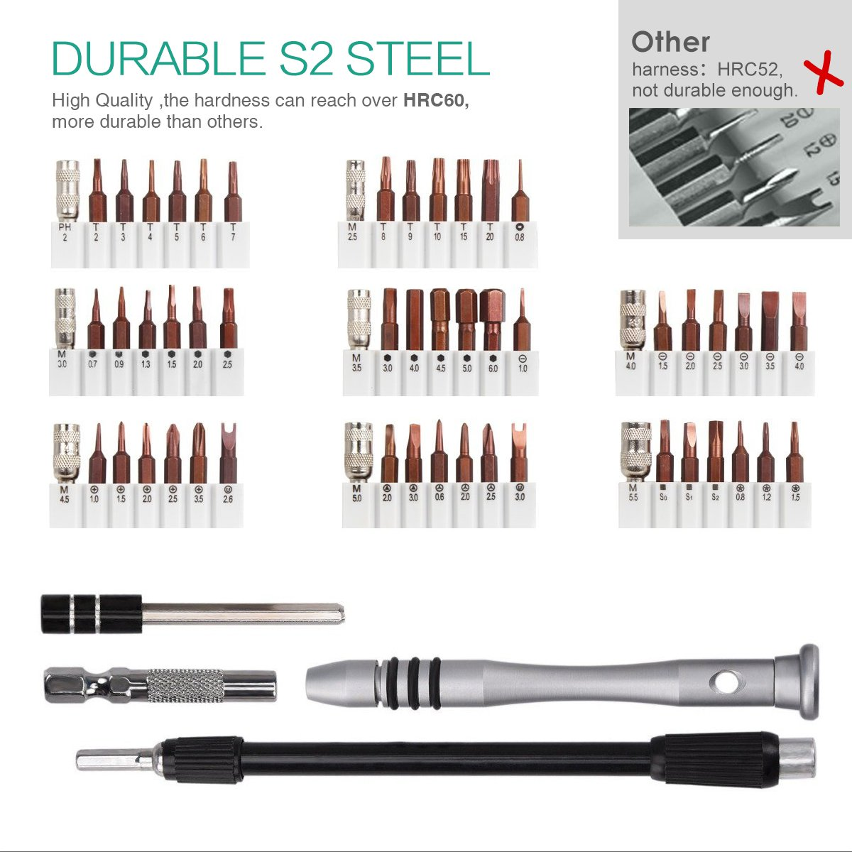 ORIA Screwdriver Set, Magnetic Driver Kit, Professional Electronics Repair Tool Kit, S2 Steel 60 in 1 Precision Screwdriver Kit, Flexible Shaft, for iPhone/Smartphone/Game Console/Tablet/MacBook by ORIA (Image #2)