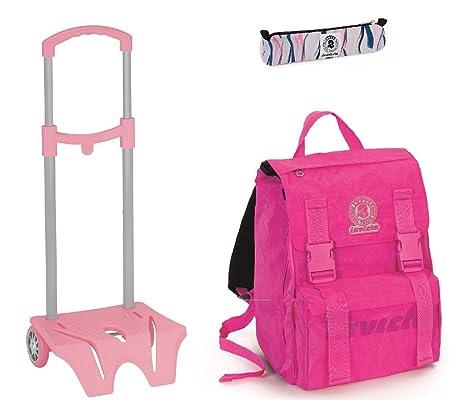 cb1a15c225 Zaino scuola INVICTA + Easy TROLLEY + Portapenne - Rosa - estensibile - elementari  e medie