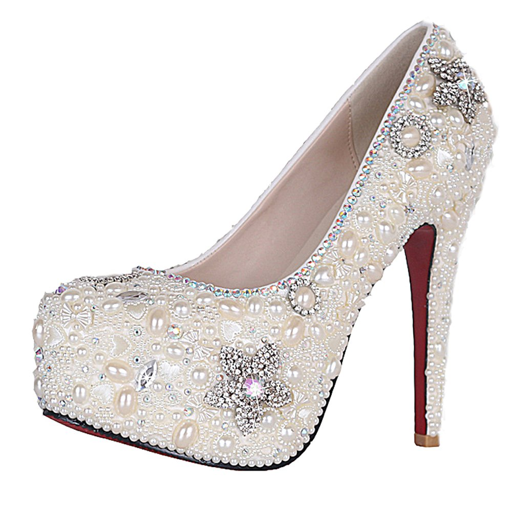 bceb5c4ec24a Glamorous Pearl Covered Platform 5.5 Inches High Heels Wedding Party Shoes  - SHO1688820  Amazon.co.uk  Shoes   Bags