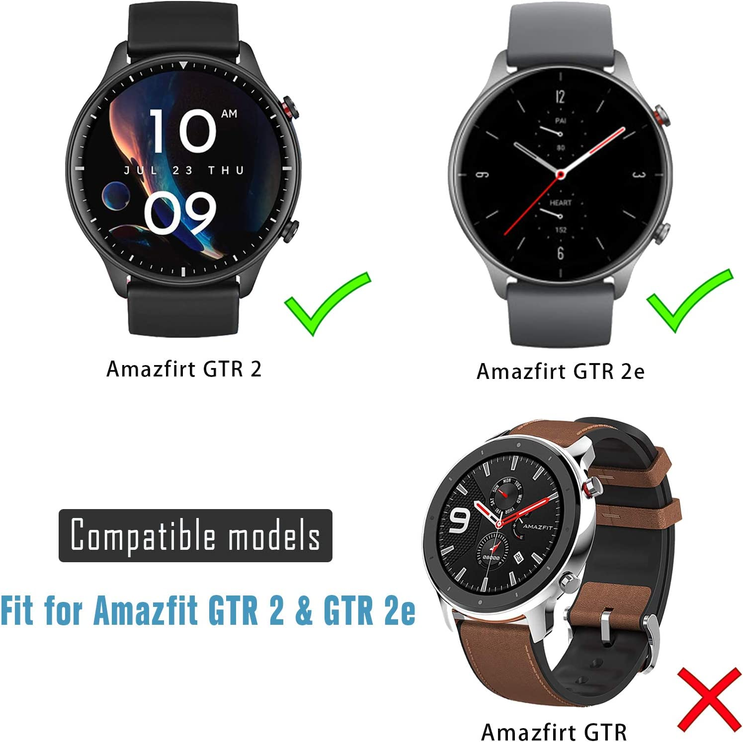 sciuU Protective Case compatible with Amazfit GTR 2, 2 Pack All-around Flexible TPU Case with Screen Protector Black Soft Frame Shock Resistant Cover fit Amazfit GTR2