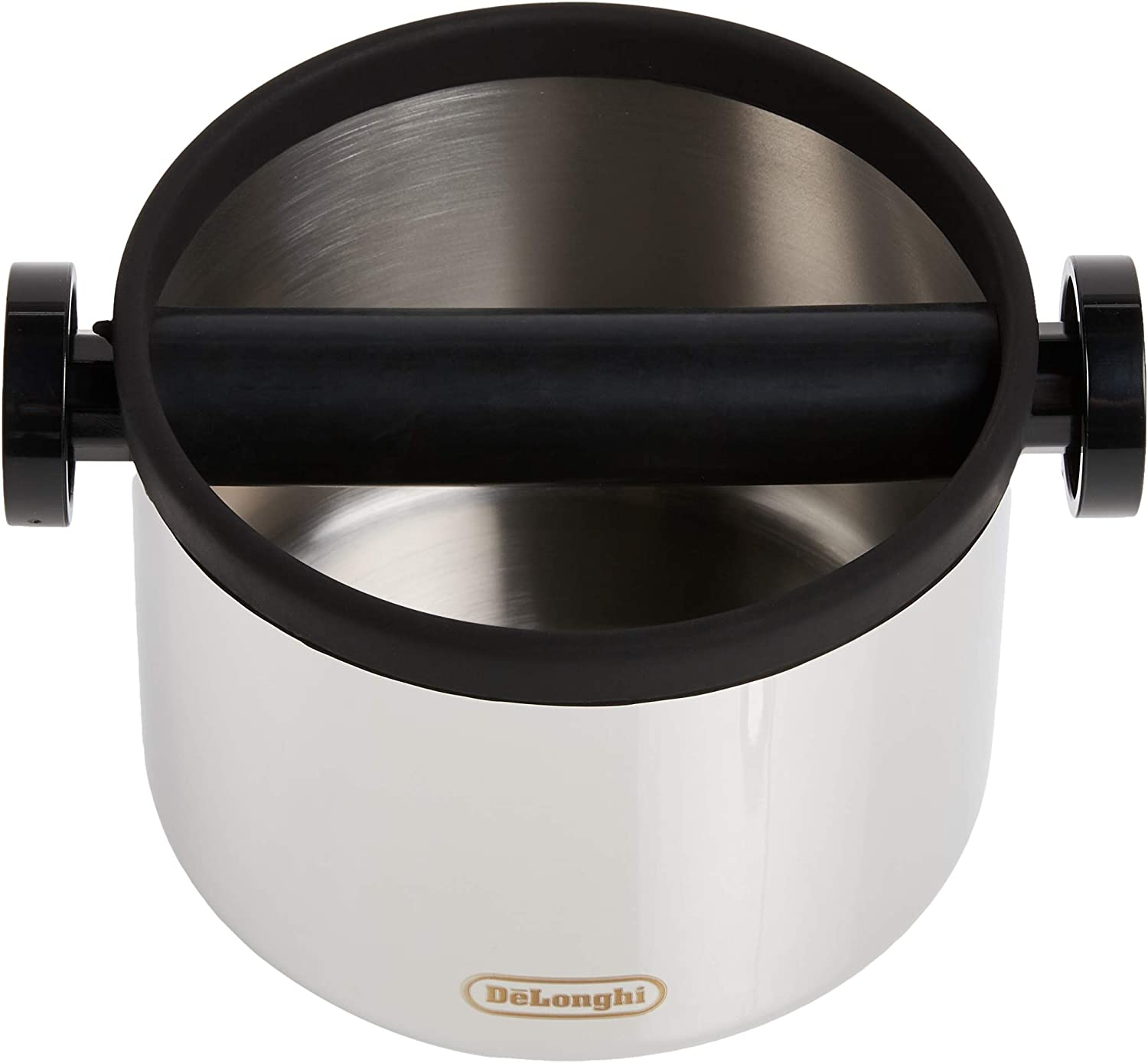 DLSC062 Dishwasher Safe Stainless Steel, Large 5-inch DeLonghi Espresso Knock Box Easy and Mess-Free Disposal of Coffee Puck Removable Bar and Non-Slip Base