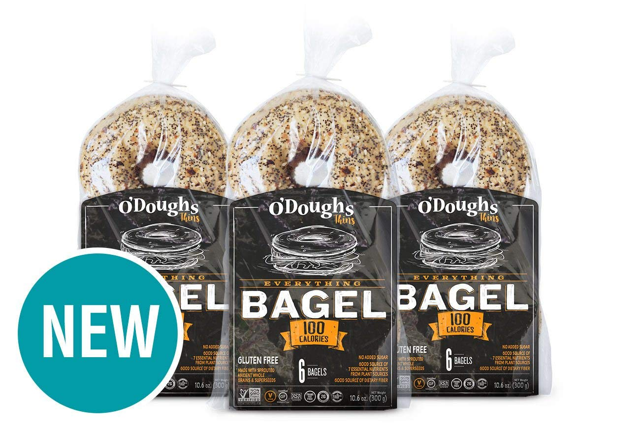 O'Dough Gluten Free Bagel Thins, Everything, 100 Calorie Bagels, 10.58 Ounce [3 Packs] by O'Dough