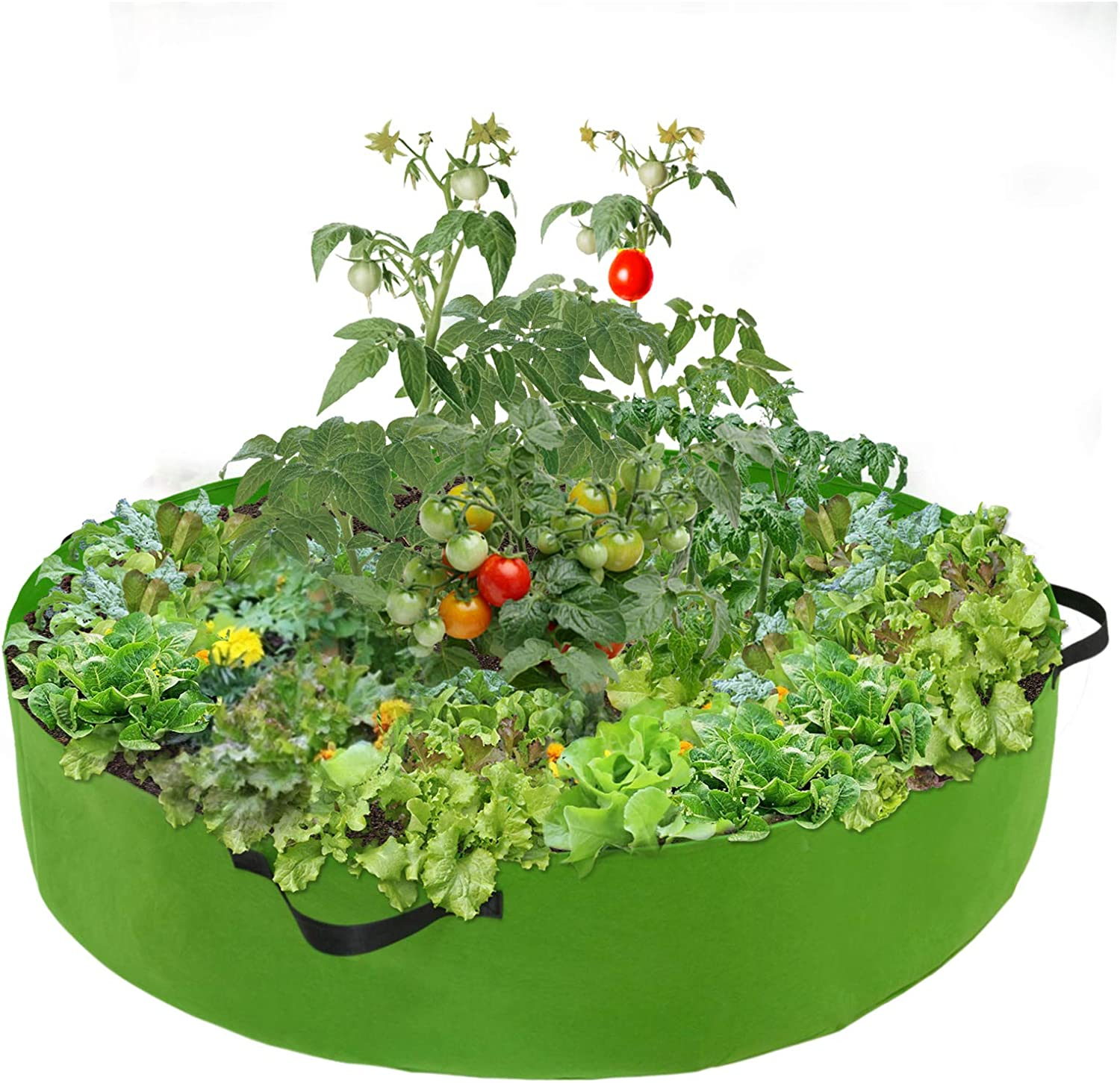 100 Gallon Round Fabric Raised Planting Bed with 4 Handles Thicken Non-Woven Garden Veggie Grow Bag Fabric Garden Plant Bed Planter Container for Garden Plant Vegetable Flower Herb Growing Green