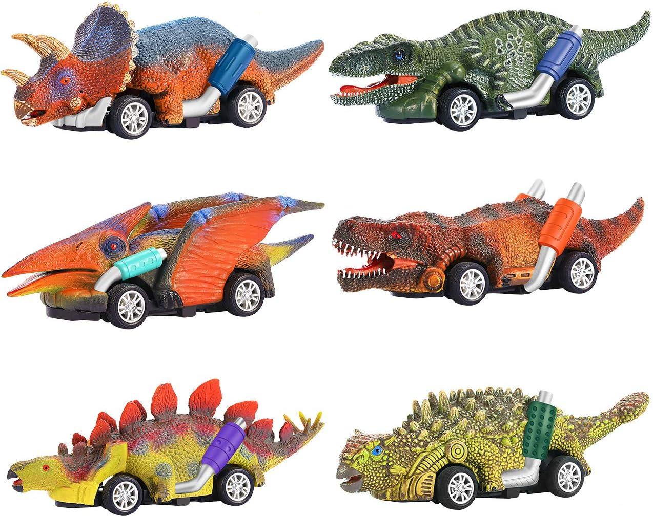 Dreamingbox 2021 Juego de Juguetes de Dinosaurio para Coche - Paquete de 6 - Juguetes & Regalos para Niños