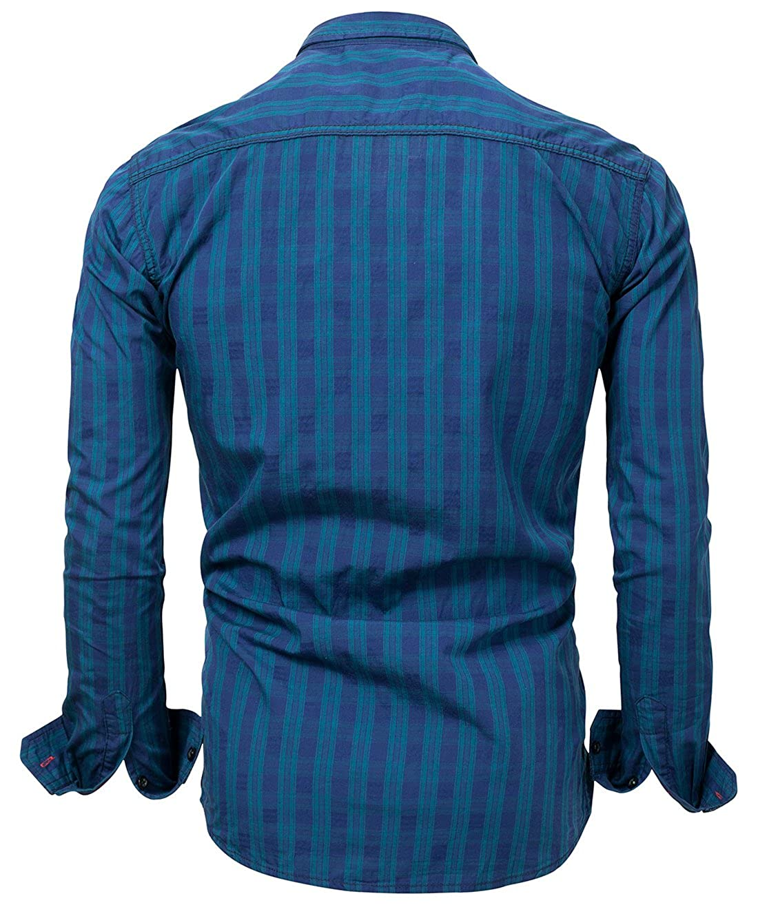 Mens All-Season Spread Collar Tailored Button Front Plaid Button Up Shirt