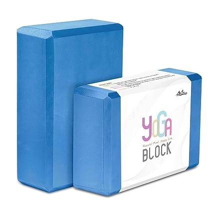 MoKo Yoga Bloques (2 Paquete) - 22.86 x 15.24 x7.62 cm Yoga Ejercicio Ladrillos de Alta Densidad EVA Foam, Protección Ambiental y Ligero, Ideal para ...