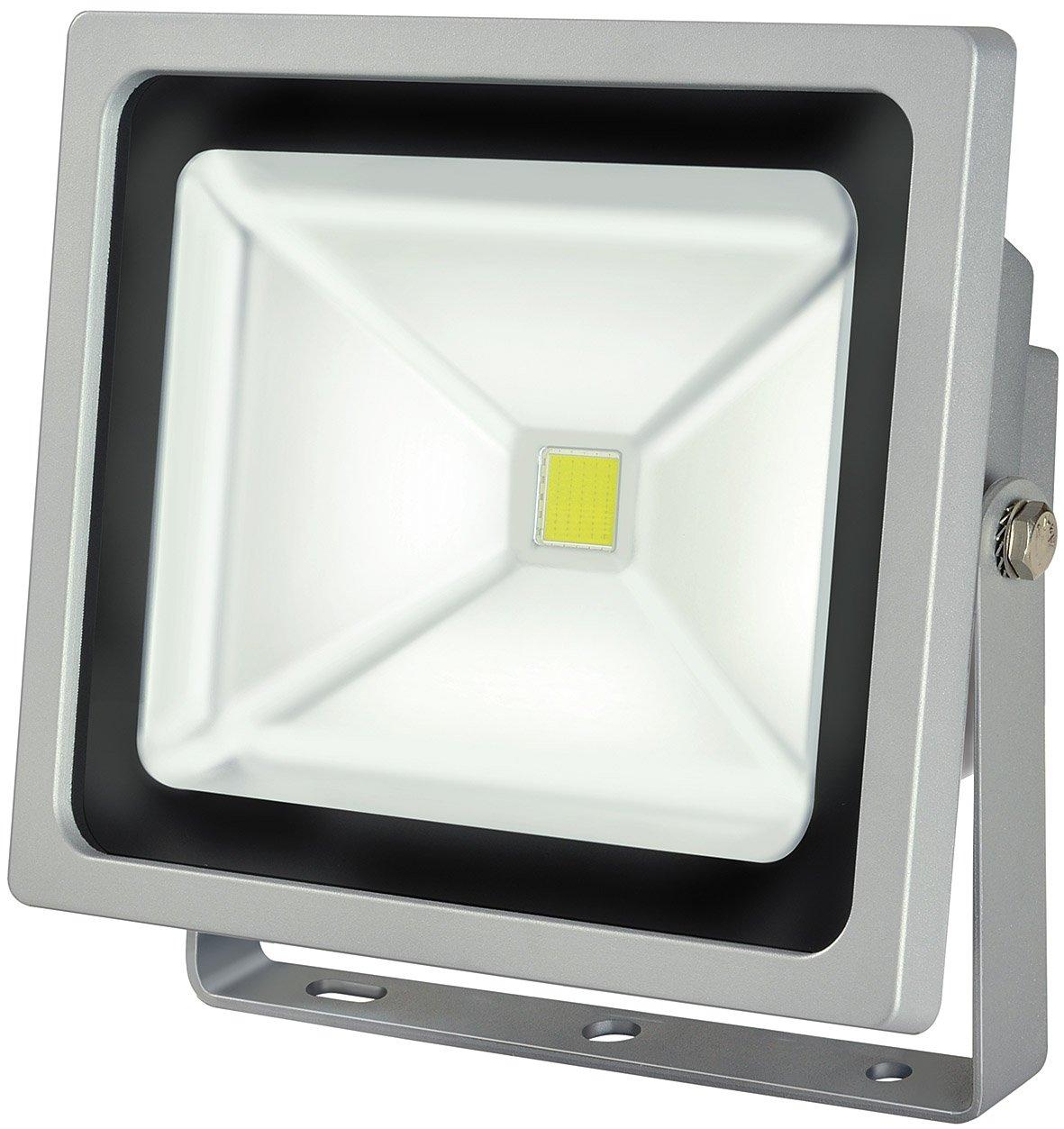 Brennenstuhl Chip-LED-Leuchte / LED Strahler außen (robuster Außenstrahler 50 Watt, Baustrahler IP65 geprüft, LED Fluter Tageslicht) Farbe: silber [Energieklasse A] 1171250521