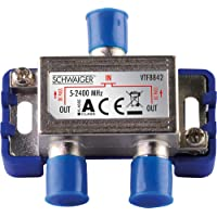 SCHWAIGER -9482- SAT-verdeler 2-weg digitale | BK-verdeler | 2-weg-verdeler met kabelgeleiding | SAT-splitter 5 - 2400…