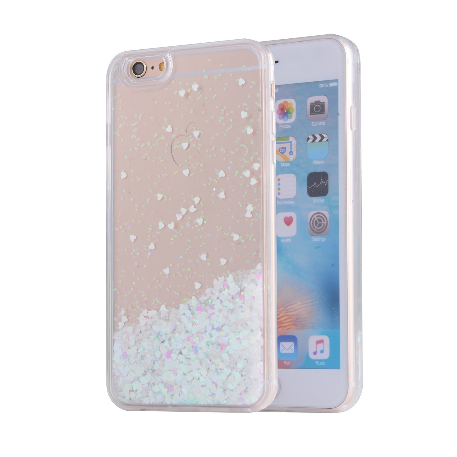 iPhone 6S Case, SAUS iPhone 6 Case, Funny Liquid Infused with Floating Bling Glitter Sparkle Dynamic Flowing Hybrid Bumper Case for iPhone 6/6S (White)