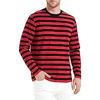 Camiseta de Rayas de Manga Larga Entallada Hombre,Cuello Redondo, Manga Larga, Long Sleeve Camiseta para Hombre t Shirt