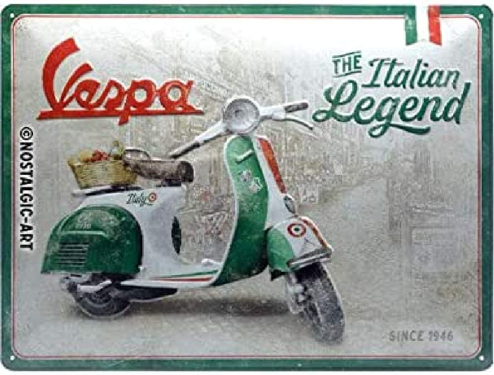 Nostalgic-Art Cartel de chapa retro Vespa – Italian Legend – Idea de regalo para los aficionados a las scooters, metálico, Diseño vintage, 30 x 40 cm