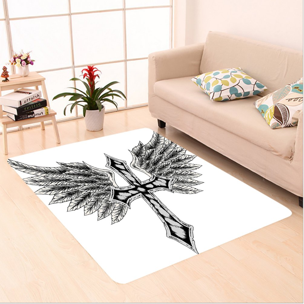 Nalahome Custom carpet raldic Wing and Cross Christ and Christian Fable Feathers Faith King Heraldic Artwork Black Grey area rugs for Living Dining Room Bedroom Hallway Office Carpet (6.5' X 10') by Nalahome