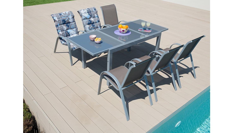 baumarkt direkt Gartenmöbelset Amalfi, 7-tgl., 6 Sessel, Tisch 140-200 cm, Alu/Textil taupe
