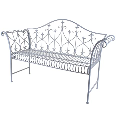 Brilliant Marko Outdoor Vintage Look Rustic Metal Outdoor Garden Bench With Ornamented High Backrest New White Caraccident5 Cool Chair Designs And Ideas Caraccident5Info