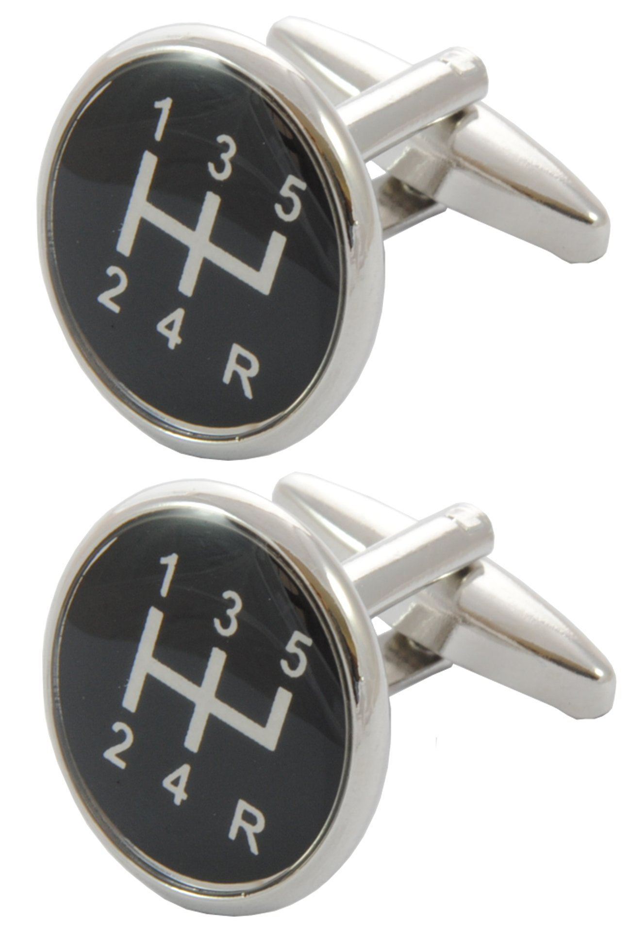 COLLAR AND CUFFS LONDON - Premium Cufflinks with Gift Box - Gear Stick - Perfect for Car Lovers - Solid Brass - Round Gear Knob Shift - Black and White Colours