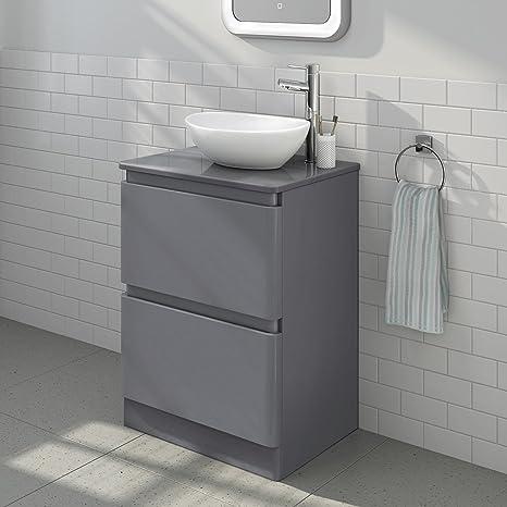 Enjoyable Modern Square Gloss Grey Bathroom Furniture Countertop Basin Unit Download Free Architecture Designs Ogrambritishbridgeorg
