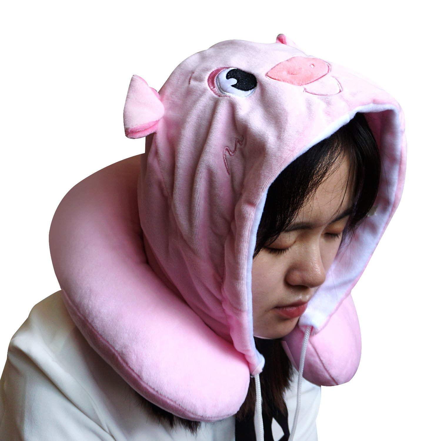 LOVOUS Cute Cartoon Animal Hooded Travel Neck Support Pillow Soft Plush Toy Comfortable U Shaped Pillow with Hat for Airplane, Office (Pink Pig) by LOVOUS (Image #3)