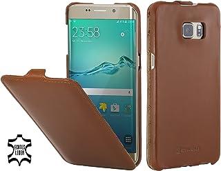 StilGut Housse pour Samsung Galaxy S6 Edge+ en Cuir véritable et à Ouverture Verticale, Cognac