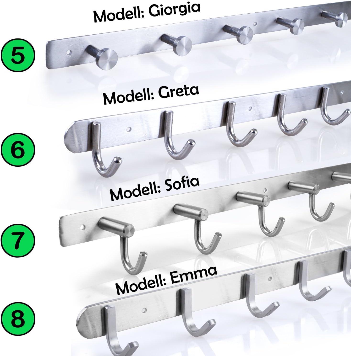 Hakenleiste Kleiderhaken EDELSTAHL geb/ürstet Garderobenleiste Garderobenhaken mit 1//4//6//8//10 Haken Wandhaken Wandgarderobe Modell:GRETA L/änge w/ählbar: 1 Haken L: 80mm