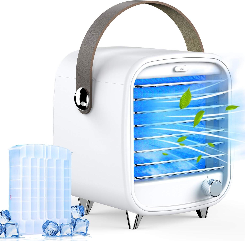 Homtiky Aire Acondicionado portátil, Enfriador de Aire USB 3 en 1, Ventilador Sobremesa, Humidificador con 3 Velocidades con Filtro de Agua y 2 Modelos de Hielo para el Hogar, la Oficina, etc