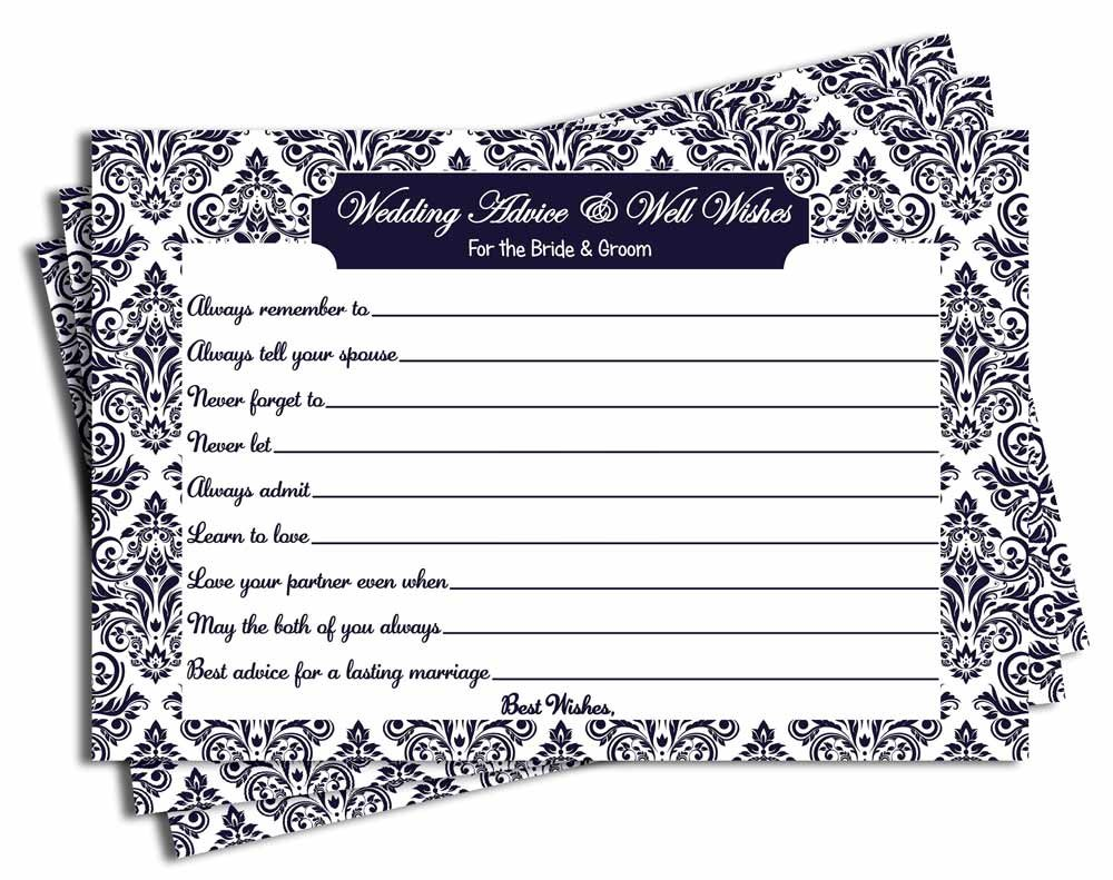 Wedding Advice and Well Wishes - Bridal Shower - Wedding - Navy Blue Damask (50-cards) All-Ewired-Up
