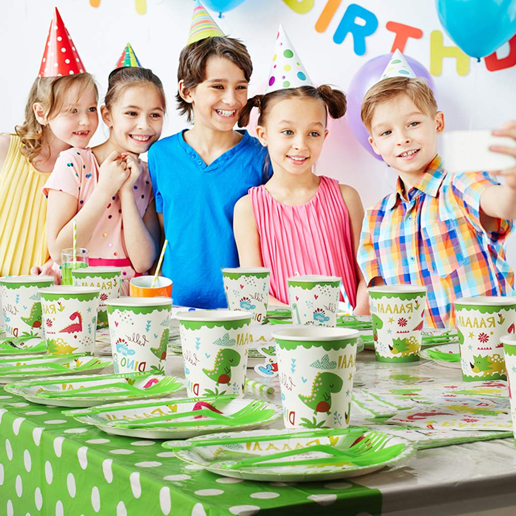 Serves 12 for Girls Boys Cups Baby Showers Birthday Party Favors Decorations Supplies Amycute 98 PCS Dinosaur Disposable Tableware Set with Banner Tablecloth Forks Plates Straws