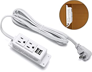 Kungfuking Power Strip with USB, Wall Mountable Socket Surge Protector Power Strip with 2 AC Outlets and 2 USB Charging Ports White Extension Cord 6.56 FT, Flat Plug