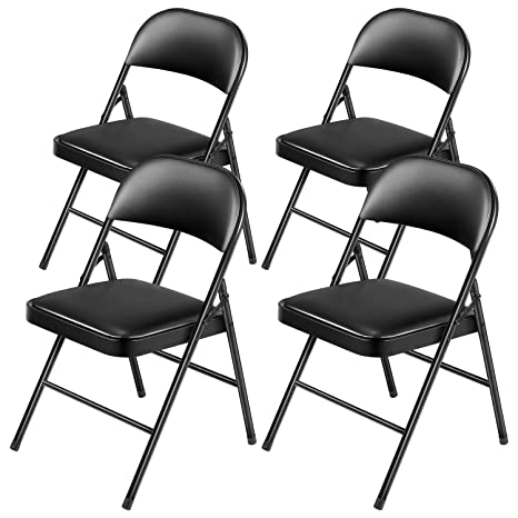 Incredible Kealive Folding Chair Upholstered Padded Seat 4 Pack Dining Chair Double Hinged 480 Lbs Weight Capacity 4 Padded Vinyl Seat Metal Frame As Kitchen Ocoug Best Dining Table And Chair Ideas Images Ocougorg