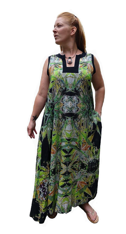 2ada35d98605 Amazon.com: Hawaiian Floral Maxi Dress. Women Plus Size Wedding Resort  Blueberry Fractal Art Design-L/XL: Handmade