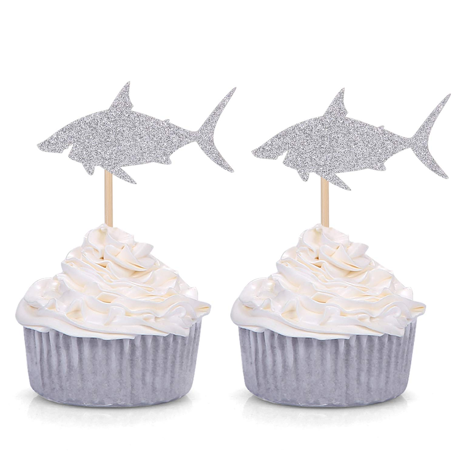 Pack of 24 Silver Shark Cupcake Toppers Boy's Birthday Party Decorations
