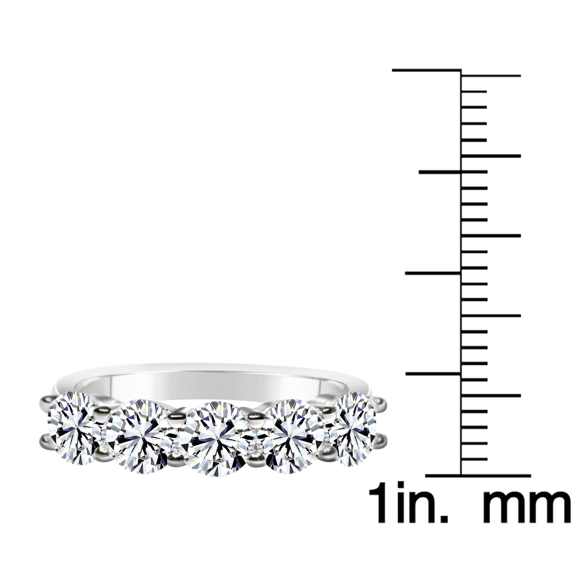 Solstice Sterling Silver 925 Round 5 Stone Band Ring Made with Swarovski Zirconia (2 cttw, Size 8) by ZKS Designs (Image #3)