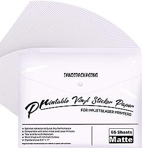 Printable Vinyl for Inkjet Printer - 55 Pack Matte White Printable Vinyl Sticker Paper Dries Quickly Vivid Colors, Holds Ink Well, Tear Resistant, Inkjet & Laser Printer by JANDJPACKAGING