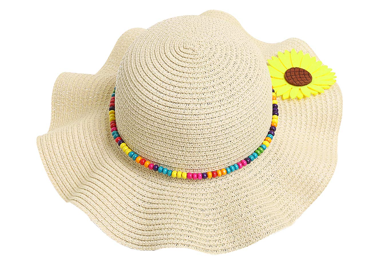 Kids Girls Multi-Colors Large Brim Flower Beach Sun Hats,BeigeYellow