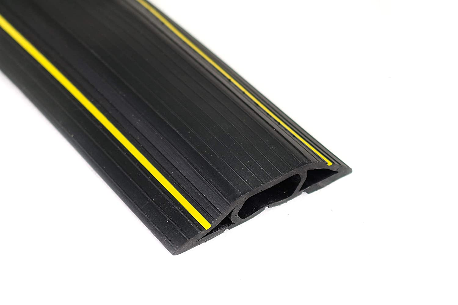 Vineto Floor Cord Protector 6.5 Ft Black PVC Heavy Duty 3 Channel Raceway to Cover and Conceal Cables and Wires for Indoor and Outdoor Offices, Garages, Concerts, Warehouses
